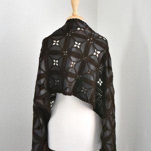 100%Calf Leather & Silk Crochet Fringed Scarf/Wrap